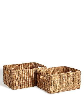 Water Hyacinth Set Of 2 Storage Baskets, , catlanding