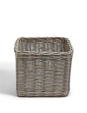 Rattan Small Storage Basket, GREY, catlanding