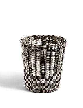 Rattan Round Waste Bin, GREY, catlanding