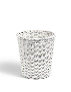 Rattan Round Waste Bin, WHITE, catlanding