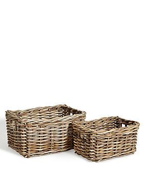 Kubu Rattan Set of 2 Storage Baskets, , catlanding