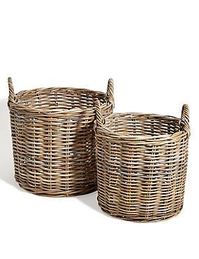 Kubu Rattan Set of 2 Round Baskets, , catlanding