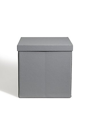 Faux Leather Fold Down Box, GREY, catlanding