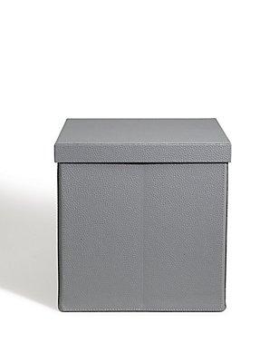 Faux Leather Fold Down Box, GREY, catlanding