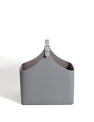 Faux Leather Magazine Rack, GREY, catlanding
