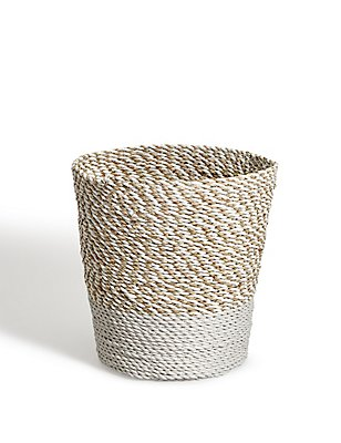 Raffia + Seagrass Waste Bin, NATURAL, catlanding