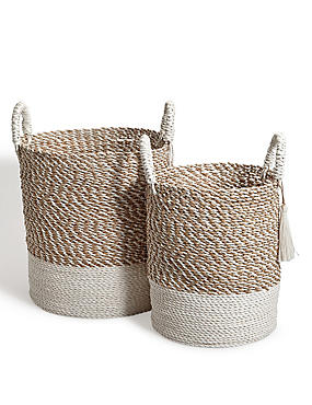 Raffia + Seagrass Set Of 2 Round Baskets, , catlanding