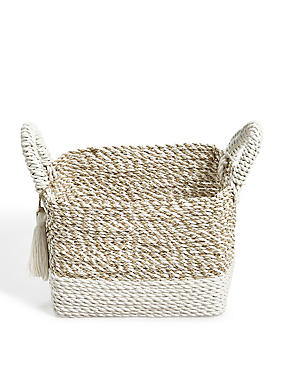 Raffia + Seagrass Small Storage Basket, , catlanding