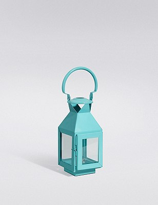 Small Metal Lantern, BLUE, catlanding