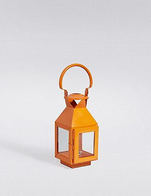 Small Metal Lantern, ORANGE, catlanding