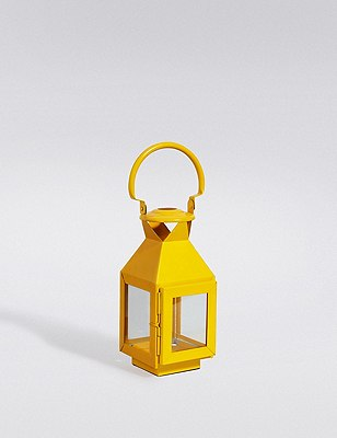 Small Metal Lantern, YELLOW, catlanding