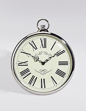 Classic Fob Wall Clock, SILVER, catlanding