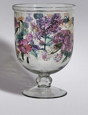 Floral Hurricane Candleholder, , catlanding