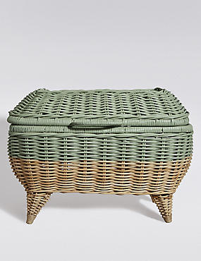 Rattan Striped Storage Trunk, TEAL, catlanding