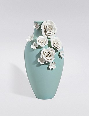 3D Floral Ceramic Vase, , catlanding