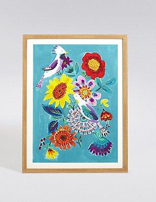 Bright Birdie Bouquet Wall Art, , catlanding