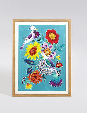 Décoration murale à motif bouquet fleuri et oiseaux colorés, , catlanding