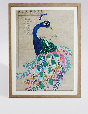 Painted Peacock Wall Art, , catlanding