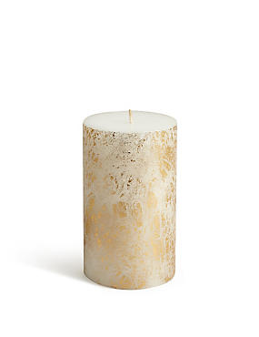 Medium Gold Leaf Pillar Candle, , catlanding