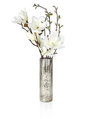 Artifical Magnolia Crackle Vase, , catlanding