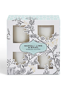 Neroli, Lime And Basil Set Of 4 Votives, , catlanding