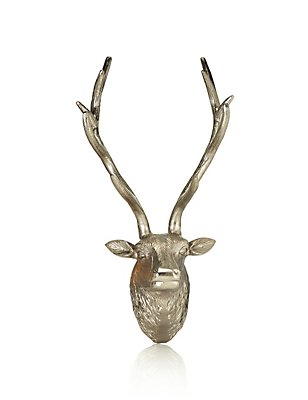 Stag Head Wall Art, SILVER, catlanding