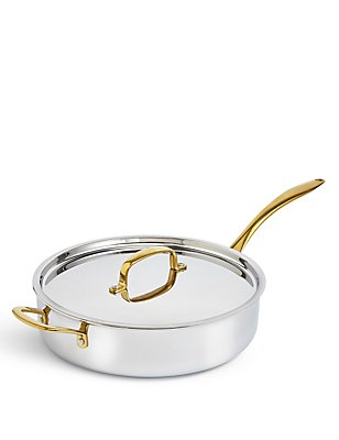 M&S Chef Tri Ply 28cm Sauté Pan, SILVER MIX, catlanding