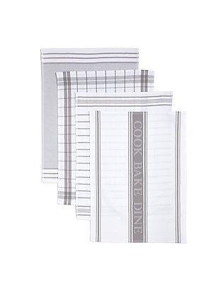 4 Pack Assorted Design Tea Towels, GREY/WHITE, catlanding