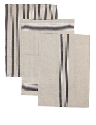 3 Assorted Striped Tea Towels, , catlanding
