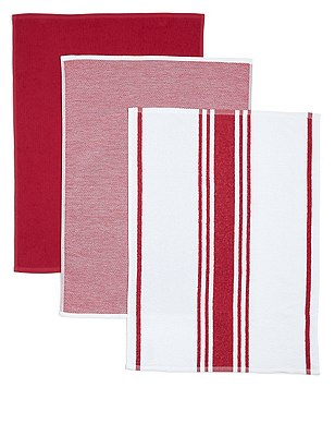 3 Pack Assorted Hand Towels, RED MIX, catlanding