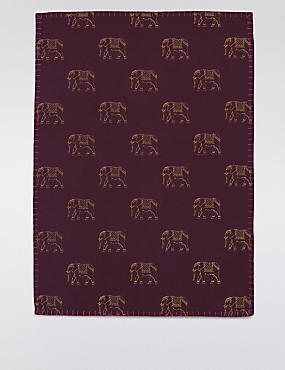 Elephant Print Tea Towel
