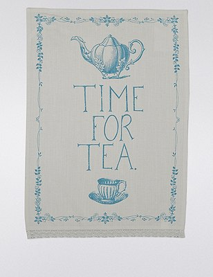 Time For Tea Slogan Tea Towel, , catlanding