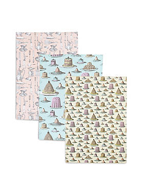 3 Pack Vintage Bake Happiness Tea Towel, , catlanding