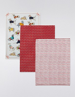 3 Assorted Print Tea Towels, , catlanding