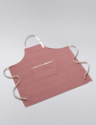 Pure Cotton Striped Apron, , catlanding