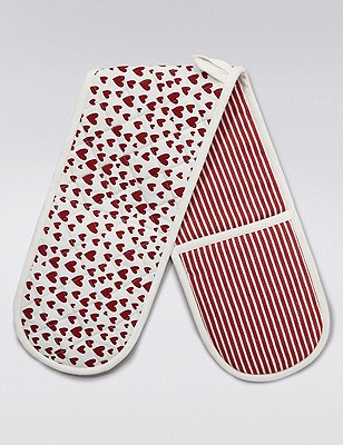 Heart Print Double Oven Gloves, , catlanding