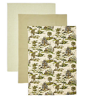 3Pk Tea Towel Botanical, , catlanding