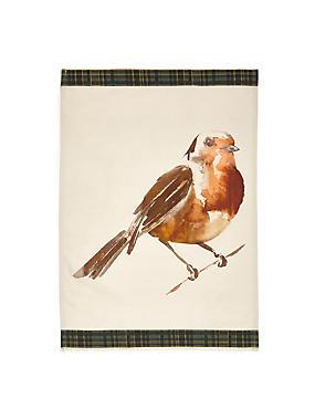 Tartan Trim Robin Tea Towel , , catlanding