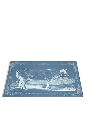 Butchers Print Glass Work Top Saver, , catlanding