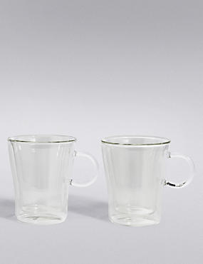 2 Walled Coffee Beaker Mugs