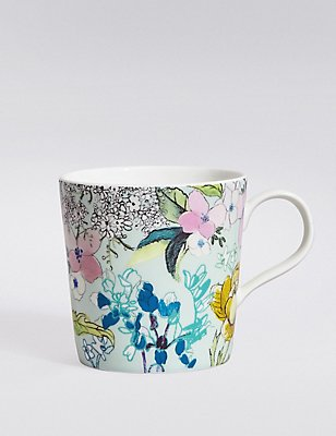 Spring Floral Blue Mug, , catlanding
