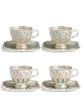 Hollywood Deco Set of 4 Cups & Saucers, , catlanding