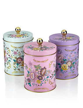 3 Floral Tea, Coffee & Sugar Tins