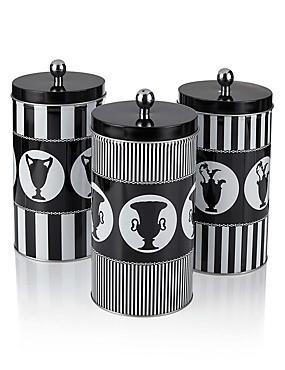 3 Pack Sue Timney Tea, Coffee & Sugar Tins, , catlanding
