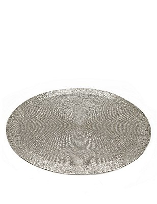 Round Beaded Placemat, SILVER, catlanding