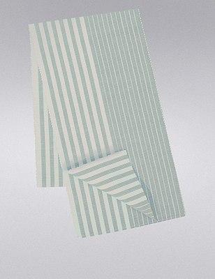 Ribbed Striped Table Runner, DUCK EGG, catlanding
