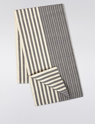Ribbed Striped Table Runner, CHARCOAL MIX, catlanding
