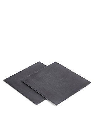 Slate Square Set Of 2 Placemats, , catlanding