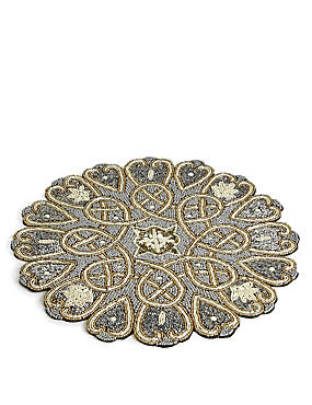 Beaded Placemat, PALE GOLD, catlanding