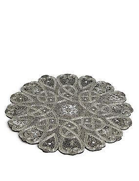 Beaded Placemat, PEWTER, catlanding